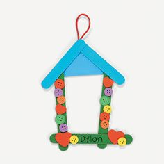 Birdhouse Craft Stick Photo Frame Craft Kit - OrientalTrading.com