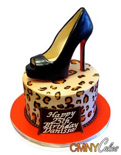 """Christian Louboutin Shoe and Cheetah Print Cake Wild, way out and totally stylish! This stunning cake was made for a 25th birthday for Danissa. The party had to cater for 15 people, so we decided to use one tier and go all out with the decorations. Danissa loves her designer shoes and we created a magnificent black 6"""" stiletto heel ..... http://cmnycakes.com/gallery2/v/Cakes+For+All+Occasions/Christian+Louboutin+Shoe+and+Cheetah+Print+Cake.html"""
