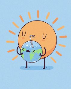 cool funny graphic design chicquero sun drinking earth