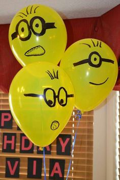 Looking for some fun and colorful Despicable Me birthday party ideas? A Despicable Me party theme is fun for both boys and girls! Check out these Minion inspired birthday party supplies, decorations, cakes and cupcake ideas! Minion Theme, Minion Birthday, 3rd Birthday Parties, Birthday Fun, Birthday Ideas, Google Birthday, Birthday Cake, Birthday Balloons, Minion Balloons