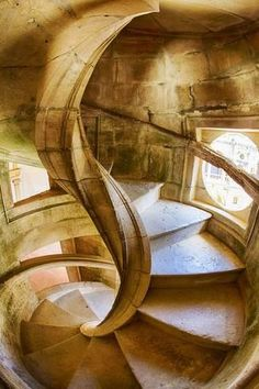 Photographic Print: Portugal, Tomar, Spiral Stone Staircase in Convento De Cristo by Terry Eggers : 24x16in