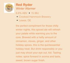 Red Ryder from The Crooked Hammock Brewery in Lewes DE