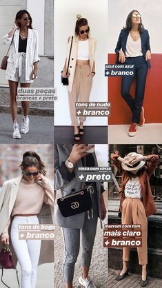 ideias de looks com combinação monocromática + neutro para o dia 2 do desafio das cores: combinar duas peças da mesma cor é uma boa ideia para tirar o look do comum, mesmo que não seja no look completo e seja misturado com um neutro! Fast Fashion, Work Fashion, Fashion Beauty, Womens Fashion, Casual Outfits, Fashion Outfits, Fashion Tips, Fashion Trends, Minimal Fashion