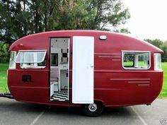 red trailer rv camper