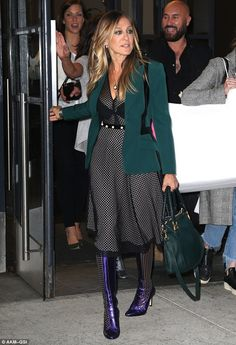 Make way! The actress ditched the edgy look that same day for a jade green blazer, black a...