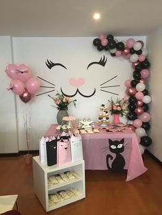 kitten birthday party mostly just interested in the kitty face on the wall Cat Birthday, 2nd Birthday Parties, Birthday Party Decorations, Kitten Party, Cat Party, Cat Themed Parties, Wall, Pusheen Cat, Beautiful Pictures