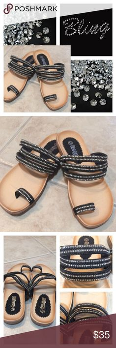 💎Lots of bling sandals  💎 These beautiful sandals are brand new.  Full of rhinestones they add a stunning attraction to your feet. One wide strap over the big toe. Triple straps over the top of your foot. Firm soles. Listed NWT because all stickers are still on them. golden road Shoes Sandals