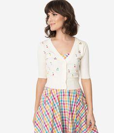 Cottagecore Clothing, Soft Aesthetic Voodoo Vixen Cream  Multicolor Cherries Catorina Crop Cardigan $52.00 AT vintagedancer.com
