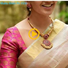 Stunning gold kanti necklace with big pendant. Kanti necklace studded with rubies. Necklace with rice pearl hangings. Indian Jewellery Design, Indian Jewelry, Jewelry Design, Handmade Jewellery, Indian Necklace, Antique Jewellery, Bohemian Jewelry, Vintage Jewelry, Diy Schmuck