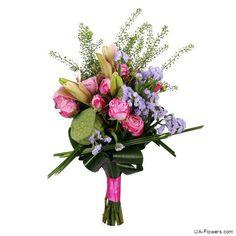 Bouquet «Original Declaration of Love Ordinary Day, Make Happy, Pink Lily, Main Colors, Flower Arrangements, Balloons, Floral Wreath, Bouquet, The Originals