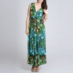 ae91ebb8271 Shop for La Cera Women s Peacock Printed Sleeveless Maxi Dress. Get free  delivery at Overstock - Your Online Women s Clothing Destination!