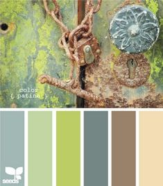 Downstairs palette, earthy/neutral with blue/gray & deep sage green
