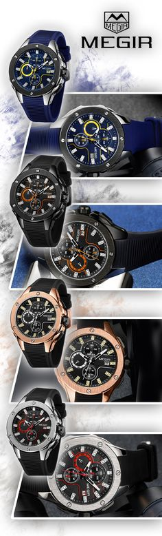 Men's Black Sport Luxury watches at it's finest - Every minute counts! --Megir watch Timepiece chronograph sport luxury business casual - Men's fashion brand style affordable accessories #sportwatch #menswatches #watches #mensfashion