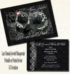 Lace Damask Masquerade Party Invitation Wedding Masquerade Invitation  Digital Printable Or 5x7 Printed Invitations With