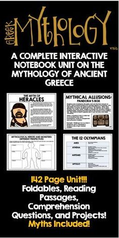 Greek Mythology: A Complete Interactive Notebook Unit on the Mythology of Ancient Greece! 142 page packages, including Foldables, Reading Passages, Comprehension Questions, Activities, and Projects! Student friendly versions of a variety of myths included!