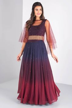 Wedding Dress Gown, Rent MISE A' JOUR BY SHILPA Blue/wine ombre anarkali with net pearl cape heavy pearl and beads embroidery on the belt at Flyrobe Indian Wedding Outfits, Indian Outfits, Reception Gown For Bride, Wedding Dress, Frock Fashion, Fashion Outfits, Indian Attire, Indian Wear, Indian Mehendi