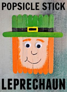 Craft this super cute Popsicle stick leprechaun for St. Patrick's Day with your kiddos. Craft & puzzle in one