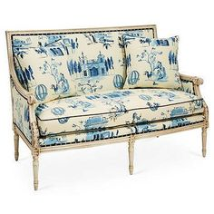 A watercolor-inspired toile gives this classic Louis XVI settee a pop of color, elevating it to a true statement piece. The frame is made of beech, a wood favored by furniture makers for its. Decor, Blue Furniture, Settee, Furniture Layout, Love Seat, Furniture Design, Nailhead Furniture, Home Decor, Furniture