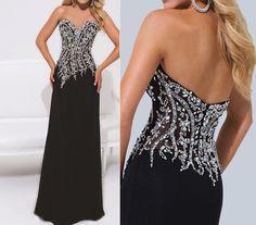 Black prom dress long evening dress beading chiffon by sunpeng2011, $169.00