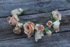 Cream rose flowers crown. Hair wreath. Polymer by FloraAkkerman, $55.00