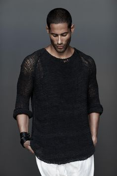 Donna Karan Urban Zen Elements III Leather knit sweater