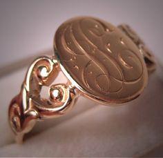 Antique Gold Signet Ring Period Art Nouveau Victorian via Etsy