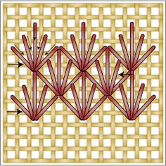 The Diamond Ray Stitch is a textured needlepoint filling stitch. It is similar to standard Ray Stitch but is worked vertically.: Working the Diamond Ray Stitch