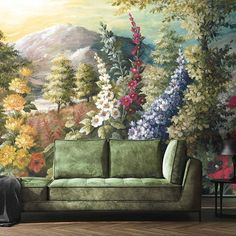 The new Woodchip and Magnolia Nirvana wall mural celebrates in statement style thanks to its breathtaking landscape print Bold Wallpaper, Print Wallpaper, Smells Like Teen Spirit, Little Designs, Hollyhock, Eclectic Design, Landscape Prints, Wisteria, Nirvana