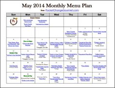 May Menu Plan Printable | Available on PocketChangeGourmet.com