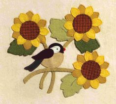 Appliqué-Brandywine Designs- wool/ felt, 3 flowers with a bird.
