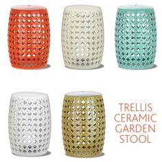 Ceramic Garden Stool adds a pop of color to your outdoor living area. Use it as a garden seat or a pretty outdoor side table.