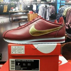 best website d0893 0946c Retro Nike Classic Cortez Special Men Running Shoes Leather Wine Red Golden