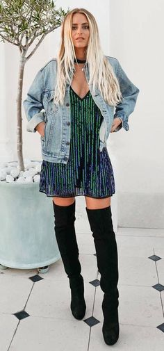 fashionable outfit: denim jacket + dress + over the knee boots