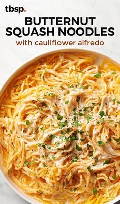 Butternut Squash Noodles with Cauliflower Alfredo This creamy delight feels like an indulgence, but surprise! It's loaded with vegetables. From the cauliflower Alfredo sauce to the butternut squash noodles, there's no shame in taking seconds. Zoodle Recipes, Vegetarian Recipes, Cooking Recipes, Healthy Recipes, Spiralizer Recipes Vegetarian, Spiralized Veggie Recipes, Veggetti Recipes, Healthy Meals, Butternut Squash Noodle