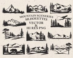 Mountain Scenery SVG Cut Files - Mountain Scenery Silhouette SVG Cut Files Mountain svg dxf eps png - Silhouette Cricut Transfer & other by seaquintdesign on Etsy