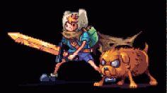 Finn and Jake - Adventure Time - Cartoon Network - fanart - deviantart - AbyssWolf Pixel Art Gif, Cool Pixel Art, Pixel Art Games, Pixel Pixel, Adventure Time Cartoon, Adventure Time Finn, Gif Animé, Animated Gif, Adveture Time