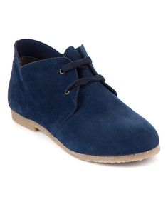 Navy Blue Lace-Up Oxfords