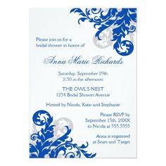 Royal Blue and Silver Flourish Bridal Shower 5x7 Paper Invitation Card