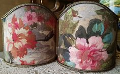 Pair of Clip-On Shield Shades Rubelli Printed Fabric Autumn Violetta Pattern Mini Lampshade - Made in Italy by OggettiVeneziani on Etsy
