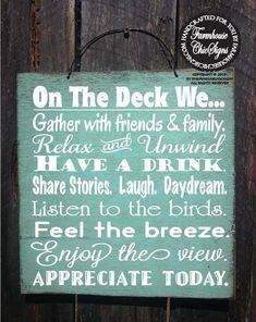 Installing a deck to your house is similar to purchasing a new skirt. Home deck is just one of the most beautiful and frequently neglected parts of the home. You may utilize the home deck for vario… Lake Signs, Beach Signs, Lake Rules, Diy Signs, Wood Signs, Pallet Signs, Funny Signs, Patio Signs, Backyard Signs