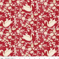 Fat Quarter Aesop's Fable Swans Red Cotton Quilting Fabric Riley Blake C4511 by Petestreasuretrove on Etsy