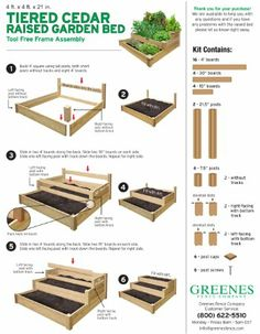 Tiered Cedar Raised Garden Bed The top two tiers inches and 14 inches, respe. - Tiered Cedar Raised Garden Bed The top two tiers inches and 14 inches, respectively) offer the perfect depth for growing deep-ro… Source by le_kos - Cedar Raised Garden Beds, Raised Vegetable Gardens, Building A Raised Garden, Vegetable Garden Design, Raised Beds, Cedar Garden, Vegetable Gardening, Container Gardening, Herb Garden