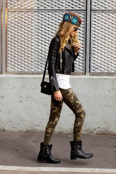 Camo pants, white tee, leather moto jacket and ankle moto booties. Fierce.   #karastyleswardrobestylist karastyles.com
