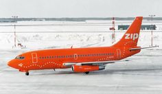 Zip Boeing 737-217/Adv C-GCPO stands out while arriving at a snowy Winnipeg-International, January 2003. (Photo: Contrails Aviation Photography)
