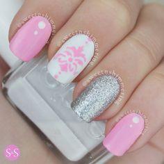 Różowo - srebrny mani
