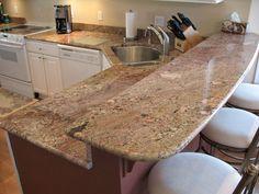 Crema Bordeaux granite kitchen.