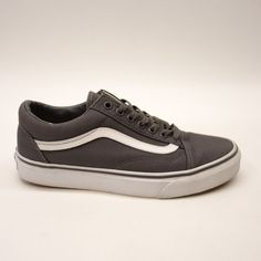 a94ef8f765 New Vans Mens Old Skool Charcoal Gray White Lace Up Canvas Sneaker Shoes Sz  7.5