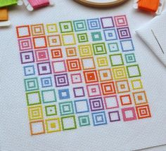 Thank you for visiting! Available here is this original cross stitch chart which will be made available to you immediately after purchase. Youll be able to download and keep the file. This original design of eye-catching rainbow coloured squares uses whole cross stitches only. I