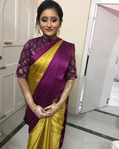 "Our charming customer Rima Dey from Jamshedpur in a honey mustard and purple soft cotton silk saree and custom blouse both from House Of Blouse. She says - "" Hi got your custom made blouse and saree..and loved it...everybody complimented about the saree and blouse... Will look forward to ordering more from you guys"" Keep them flowing! #houseofblousedotcom #customerlove #rimadey #lovely #charming #readytoshop #saree #soft #cottonsilk #blouse #chanderi #yourblouseyourway"