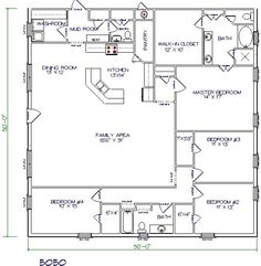 barndominium floor plan 4 bedroom 2 bathroom 50x50 A starting point... would expand to 50 x 60.